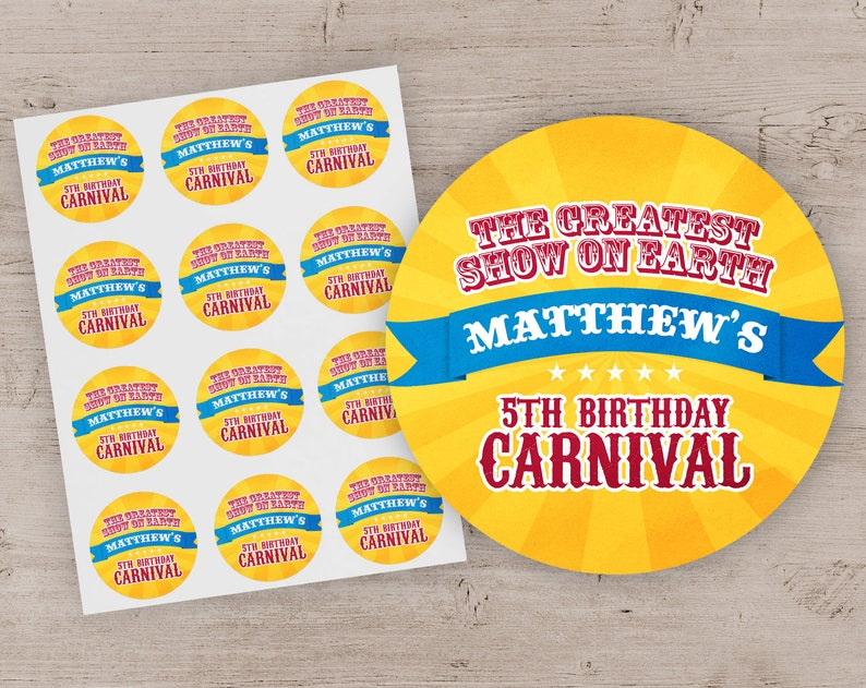 Circus Party Favor Stickers Carnival Birthday Party Treat Bag image 0