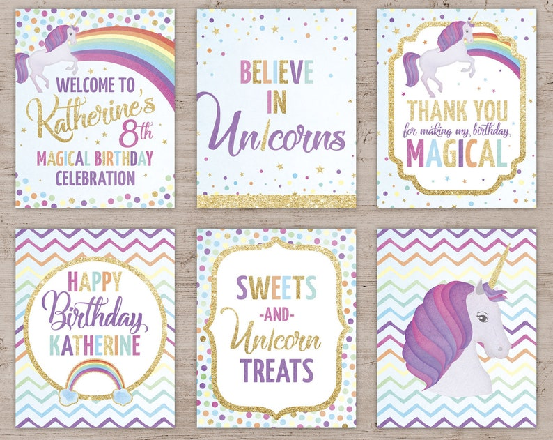 Unicorn Party Signs Unicorn Party Printables Unicorn Party Purple Hair Unicorn