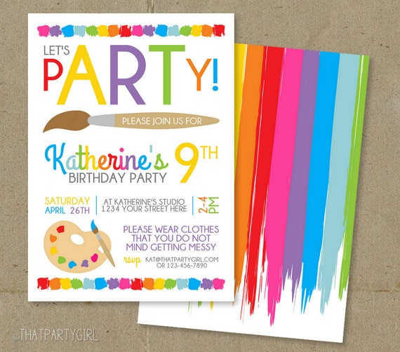 art party invitation art birthday invitation art party etsy