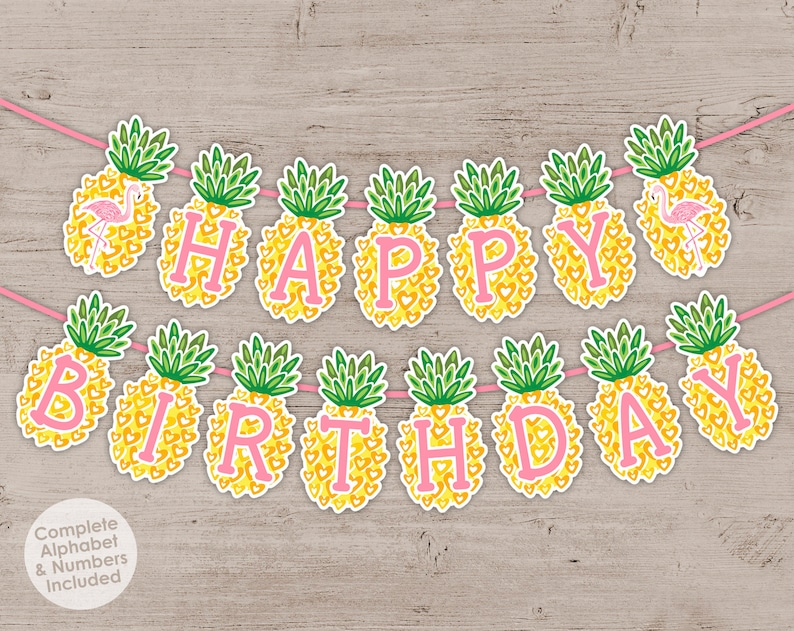Pineapple Flamingo Party Banner Tropical Luau Birthday Party image 0