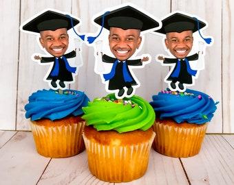 Graduation Photo Cupcake Toppers, Graduation Party Face Cupcake Toppers, Graduation Party Decorations, Graduate Party Favors, Picture Topper
