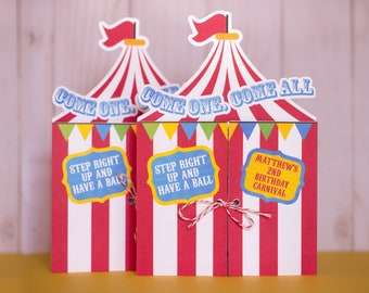 Carnival Birthday Circus Tent Invitations, Birthday Carnival Invitation, Circus Birthday Party Invites, Baby Shower Invitations