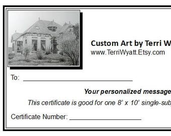 Gift Certificate - 5x7 Custom Portrait of Home, Family, or Pet From Photo - Original Personalized Pencil Sketch Drawing
