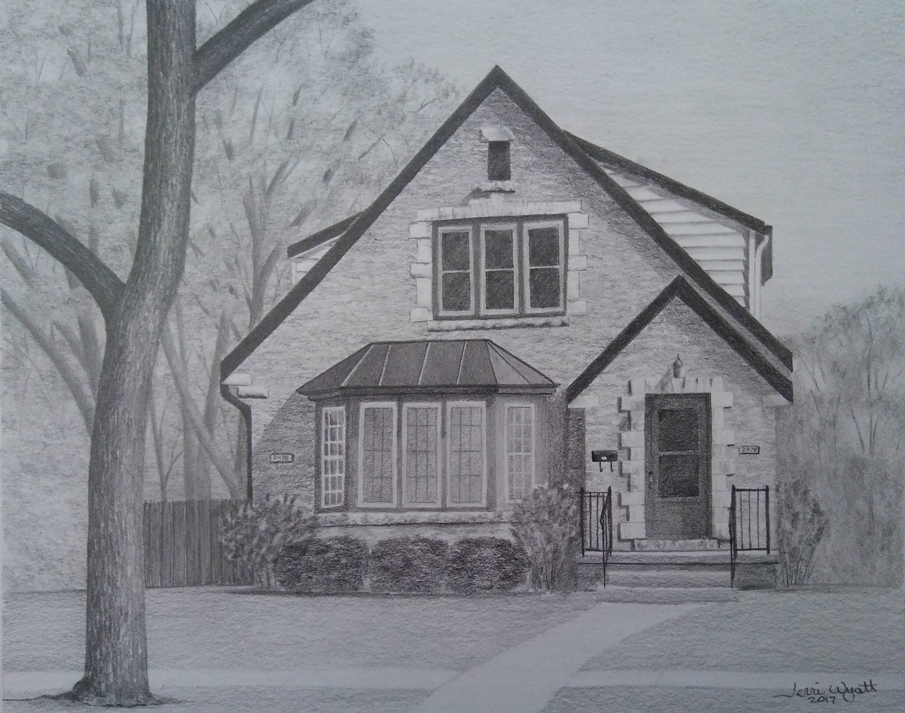 Custom home drawing from photo house pencil sketch art landscape drawing from picture