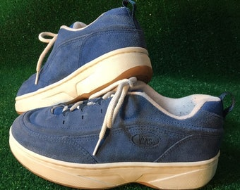 c8034b5a924bbb SZ 9 90s Vintage Vans Suede Skate   Skater Shoes   Sneakers in Dusty Blue  w  Slight Platform
