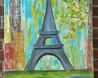 Eiffel tower in springtime