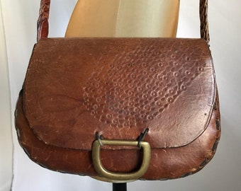 1f8ccc8a4d8 Vintage Brown Leather Hand Tooled Peacock Design Hippie Boho 70 s Shoulder  Bag Cross Body Bag Distressed and Well Worn