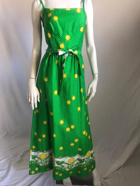 60's 70's Maxi Sun Dress by MALIA Honolulu Green … - image 1