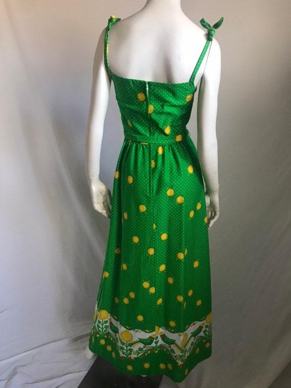 60's 70's Maxi Sun Dress by MALIA Honolulu Green … - image 8