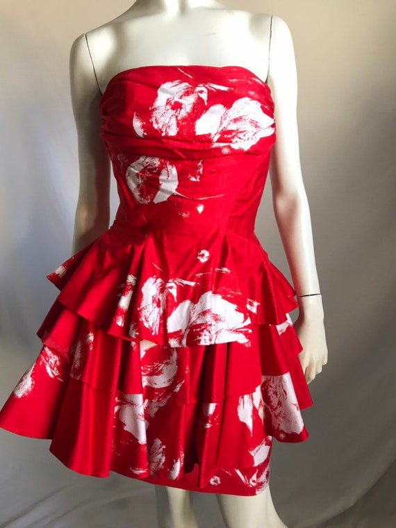 80's 90's BARBOGLIO Red and White Abstract Floral