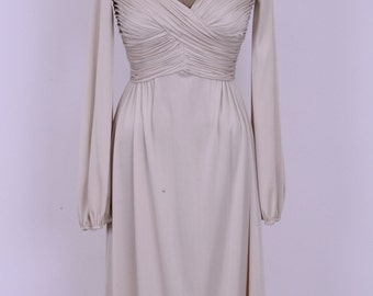 70's Ruched Flowing Champagne Lycra High Fashion Robert David Morton Party Dress