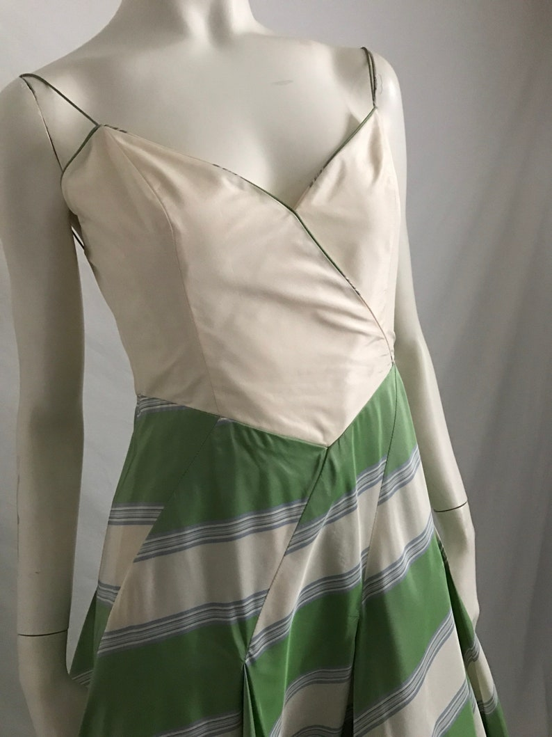 460da4b0e25 Richard Tyler Couture Designer Party Dress Green and White   Etsy