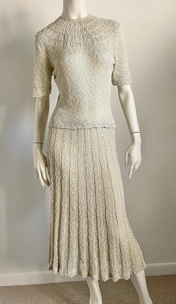 40's 50's Sophisticated Gray Metallic Crochet Knit