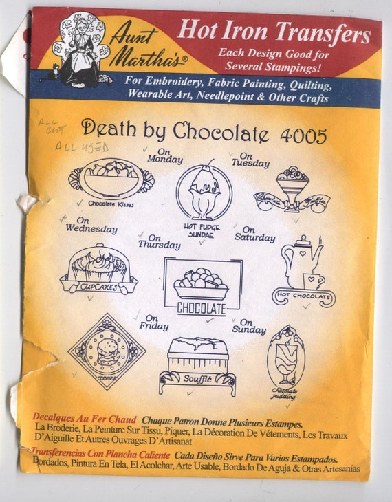 Chocolate Desserts Aunt Martha/'s Hot Iron Embroidery Transfer #4005