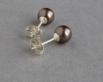 AAA 7.5mm freshwater pearl earrings stud sterling silver post stud wedding earrings brown earrings brown bead Brown pearl earrings