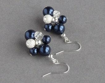 Navy Pearl Stardust Drop Earrings - Dark Blue Cluster Dangle Earrings - Midnight Blue Wedding Jewellery for Women - Sparkly Bridesmaid Gifts
