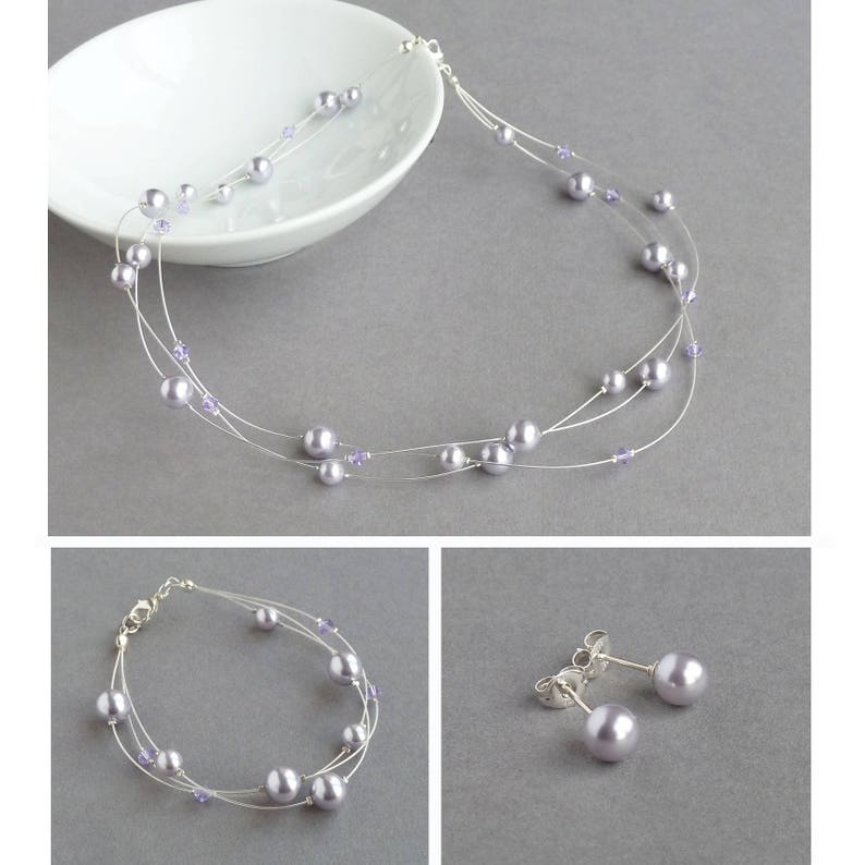 Lavender Floating Pearl Jewellery Set  Lilac Bridal Party image 0