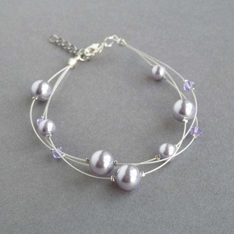 Lavender Floating Pearl Bracelet  Light Lilac Multi Strand image 0