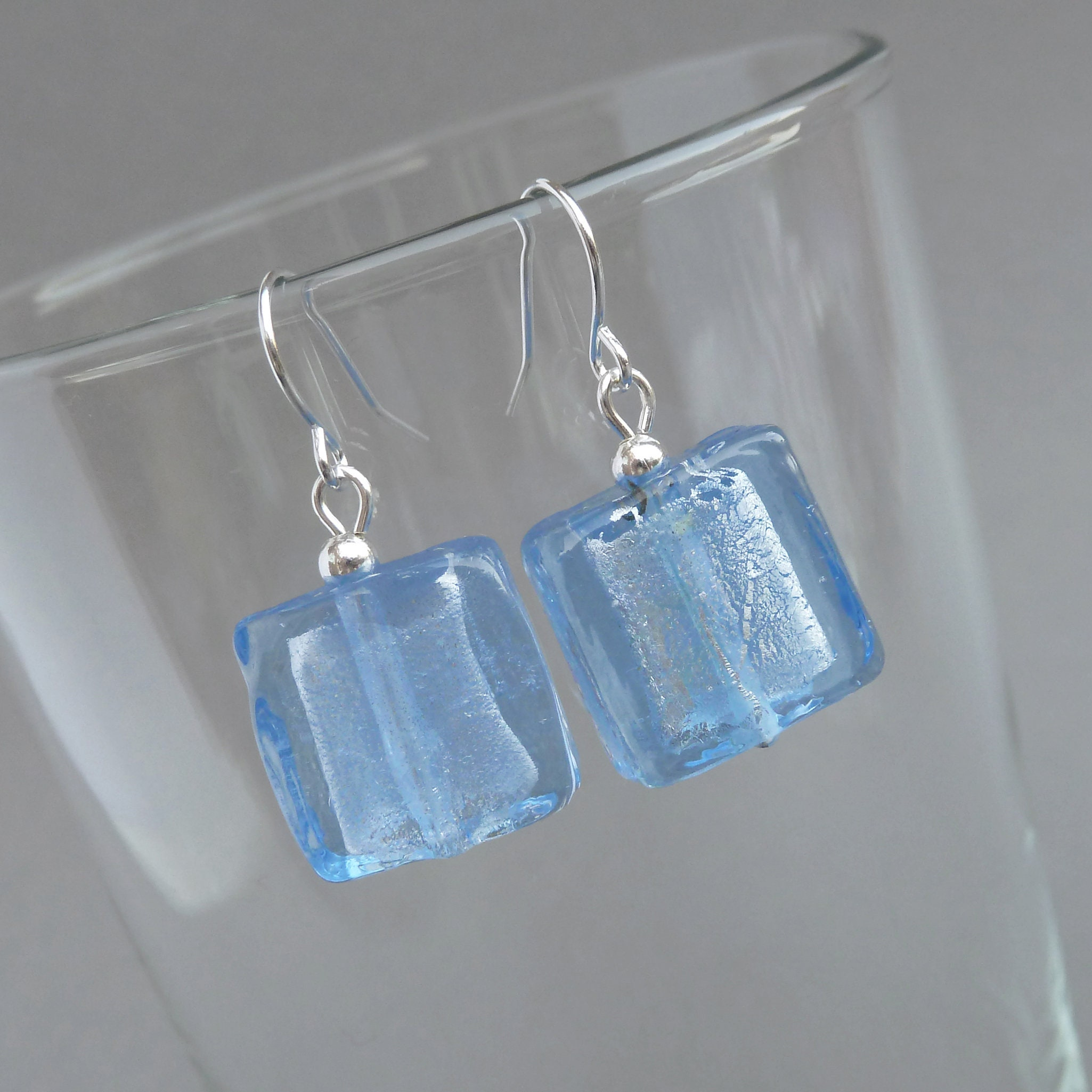 Baby Blue Square Earrings!