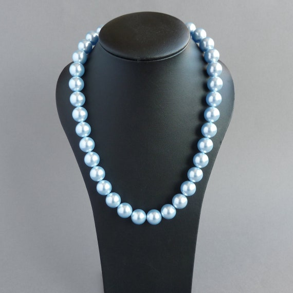 Chunky Light Blue Pearl Necklace Pale Blue Chunky Pearls Etsy