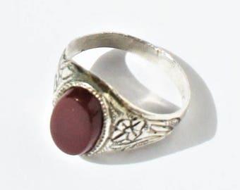 Vintage Art Deco Style Sterling Silver Signet style Carnelian Ring sz 10