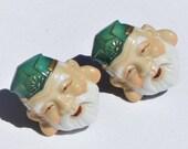 Vintage Mid Century Modern Japanese TOSHIKANE Ceramic Immortal Jurojin Screwback Earrings