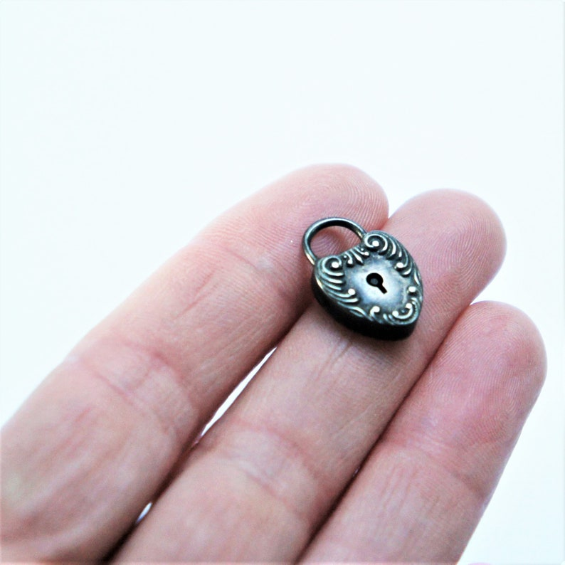 Antique Art Nouveau Sterling Silver Heart Lock Charm no key c1910