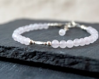 Rose Quartz Bracelet + 925 Sterling Silver Gemstone Bracelet Meaningful Bracelet silver bead bracelet Rose Quartz Bracelet, stone of love