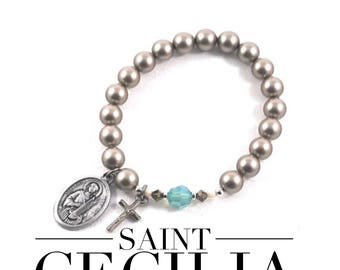 Saint Cecilia Bracelet. Gold pearl and Turquoise crystal catholic prayer bracelet.