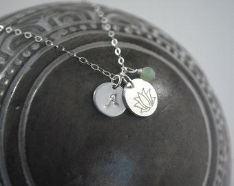 Strength necklace, silver lotus coin necklace Monogram Amazonite + Lotus necklace. No mud no lotus grace necklace Inspirational gift idea
