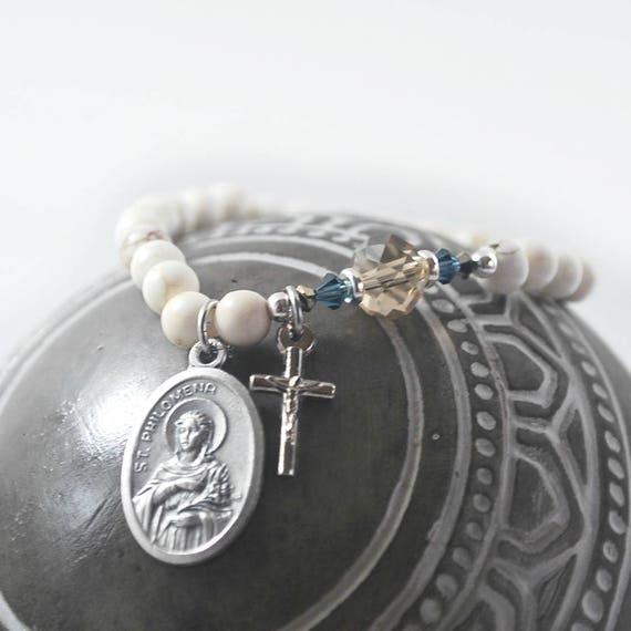 SAINT Philomena white marble bracelet St Philomena gemstone, crystal saint  bracelet Prayer Catholic jewelry Rosary Patron saint of fertility