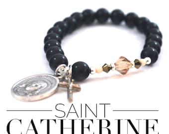 St Catherine of Siena Onyx + Crystal Bracelet Saint Catherine Catholic Bracelet cross bracelet catholic gift religious bracelet confirmation