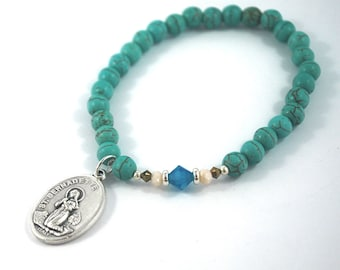 SAINT Bernadette Howlite Turquoise + Crystal bracelet St Bernadette saint bracelet Confirmation Catholic religious jewelry Rosary gift
