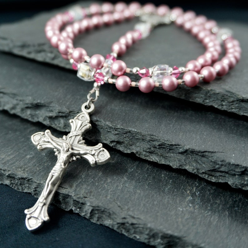 Rosary Beads Catholic Rosary Pink pearl and Square crystal