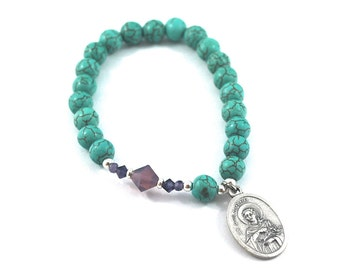 SAINT Philomena turquoise bracelet St Philomena gemstone + crystal bracelet Prayer Catholic saint jewelry Rosary patron saint of fertility