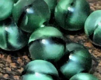 4mm Green and black Czech glass beads