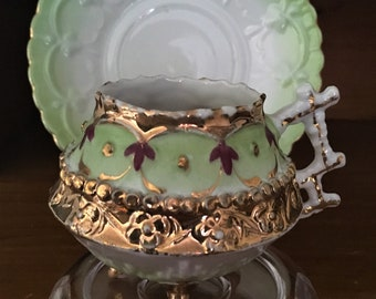 Unmarked Antique Demitasse Teacup and Saucer