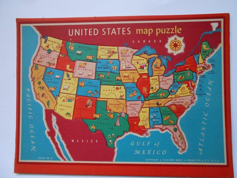 Vintage United States Map Puzzle | Etsy
