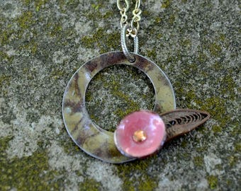 Pink Upcycled & Repurposed Ceiling Tin and Enamel Flower Necklace.  Modern yet vintage.  A minimalist necklace that spans time.