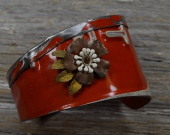 Vintage License Plates, Fold Down The Top, Get a Lot of Swank with New Old Stock Vintage Flower.  In Red and White.  Vintage Plate Cuff.