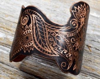 "Wanderlust - Hand Engraved Tribal Paisley & Leaf Cuff in Copper ""The Wayfarer Cuff"" ReaganJuel: Wander29"