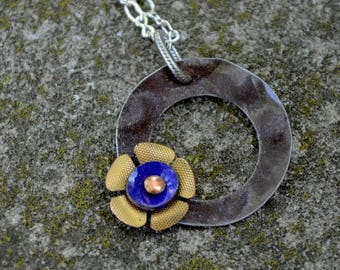Blue and Gold Upcycled & Repurposed Ceiling Tin and Enamel Flower Necklace.  Modern yet vintage.  A minimalist necklace that spans time.