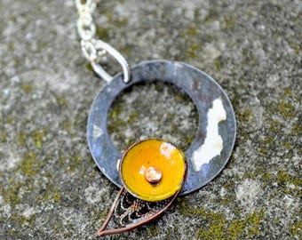 Yellow  Upcycled & Repurposed Ceiling Tin and Enamel Flower Necklace.  Modern yet vintage.  A minimalist necklace that spans time.
