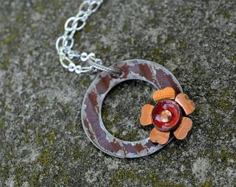 Red and Blue Upcycled & Repurposed Ceiling Tin and Enamel Flower Necklace.  Modern yet vintage.  A minimalist necklace that spans time.