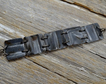 """Upcyced Antique Ceiling Tin into """"Salvaged"""" In Silver Stuff Cuff Bracelet - ReaganJuel: Tin21"""