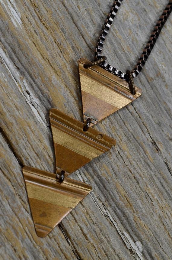 Repurposed Copper Triangle Shape Charm Necklace Bracelet Jewellery
