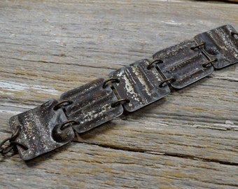 """Upcyced Antique Ceiling Tin into """"Salvaged"""" In Silver Stuff Cuff Bracelet - ReaganJuel"""