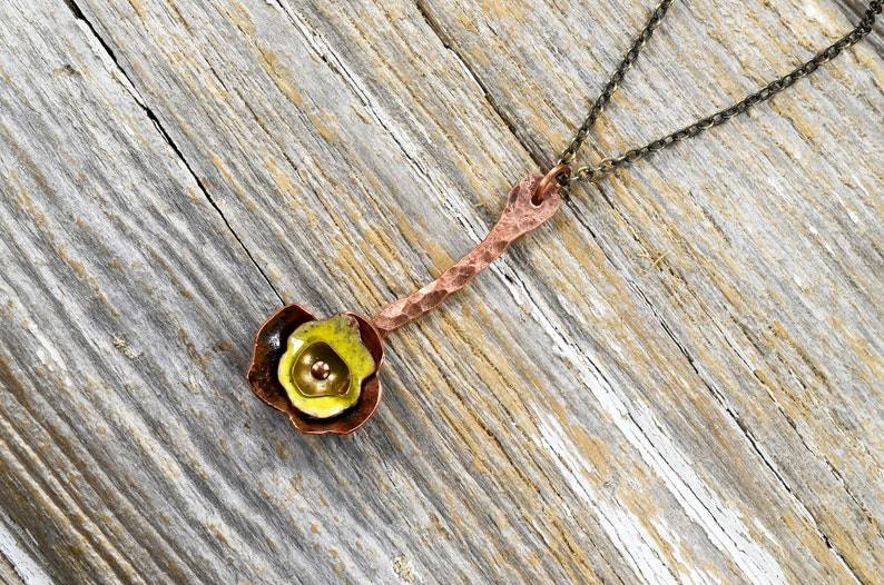 Recaimed Copper and Formed Layered Enameled Flower Necklace  image 0