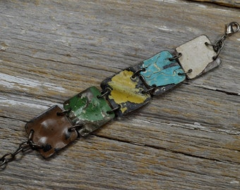 """Upcyced Antique Ceiling Tin into """"Salvaged"""" In Colored Stuff Cuff Bracelet - ReaganJuel"""