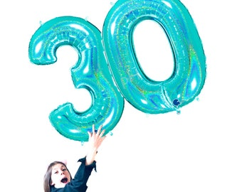 40 Inch Robin Egg Blue Number Balloon Mylar Birthday Party Decorations Number 4